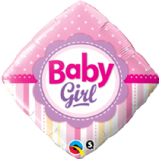 Baby Girl Dots & Stripes Foil Helium Balloon